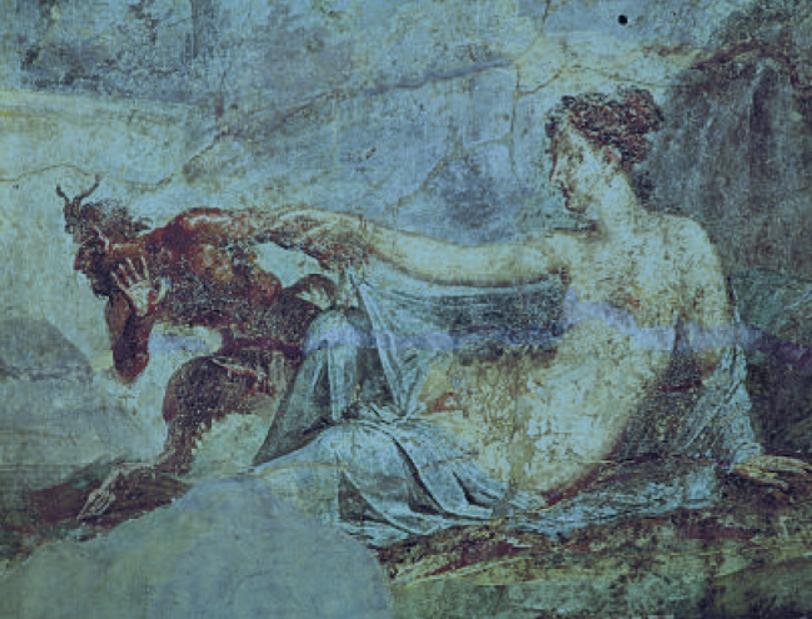 Ambivalenz ängstigt. Ein Hermaphrodit löst bei Pan Entsetzen aus (Pompeianische Wandmalerei)